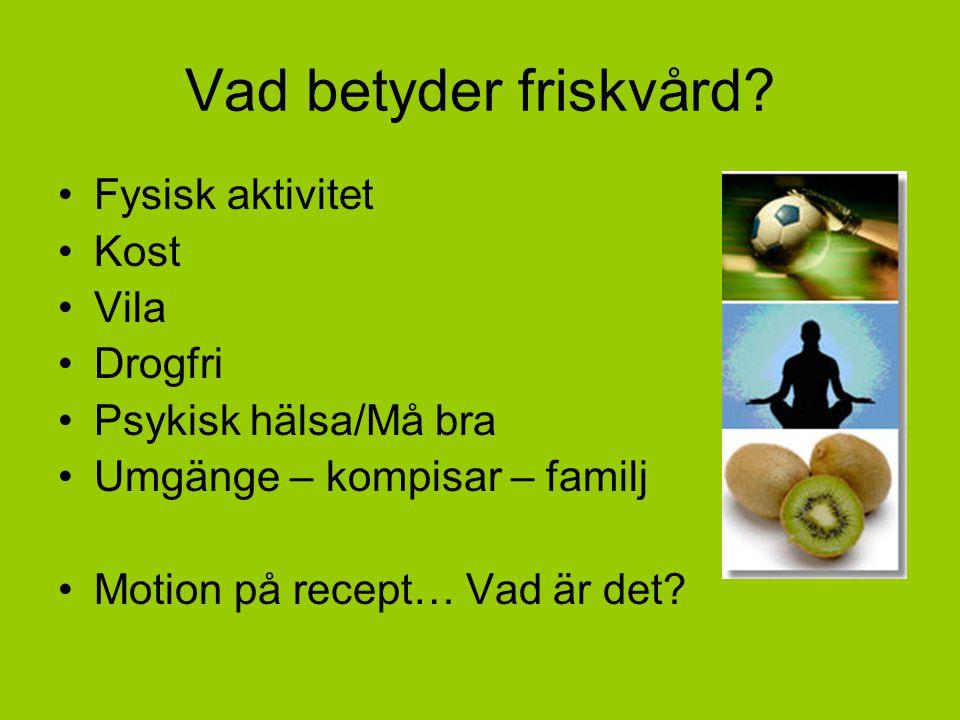 Vad betyder friskvård? Fysisk aktivitet Kost Vila Drogfri Psykisk hälsa/Må bra Umgänge – kompisar – familj Motion på recept… Vad är det?
