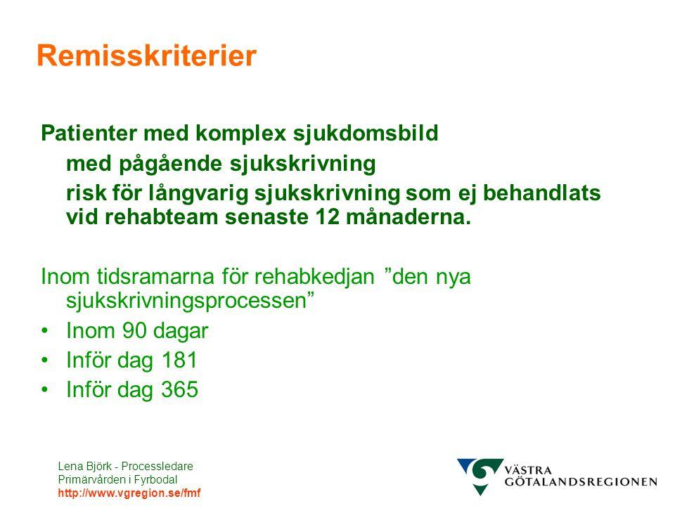Lena Björk - Processledare Primärvården i Fyrbodal http://www.vgregion.se/fmf Remisskriterier Patienter med komplex sjukdomsbild med pågående sjukskrivning risk för långvarig sjukskrivning som ej behandlats vid rehabteam senaste 12 månaderna.