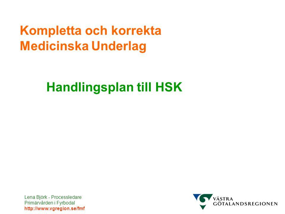 Lena Björk - Processledare Primärvården i Fyrbodal http://www.vgregion.se/fmf Kompletta och korrekta Medicinska Underlag Handlingsplan till HSK