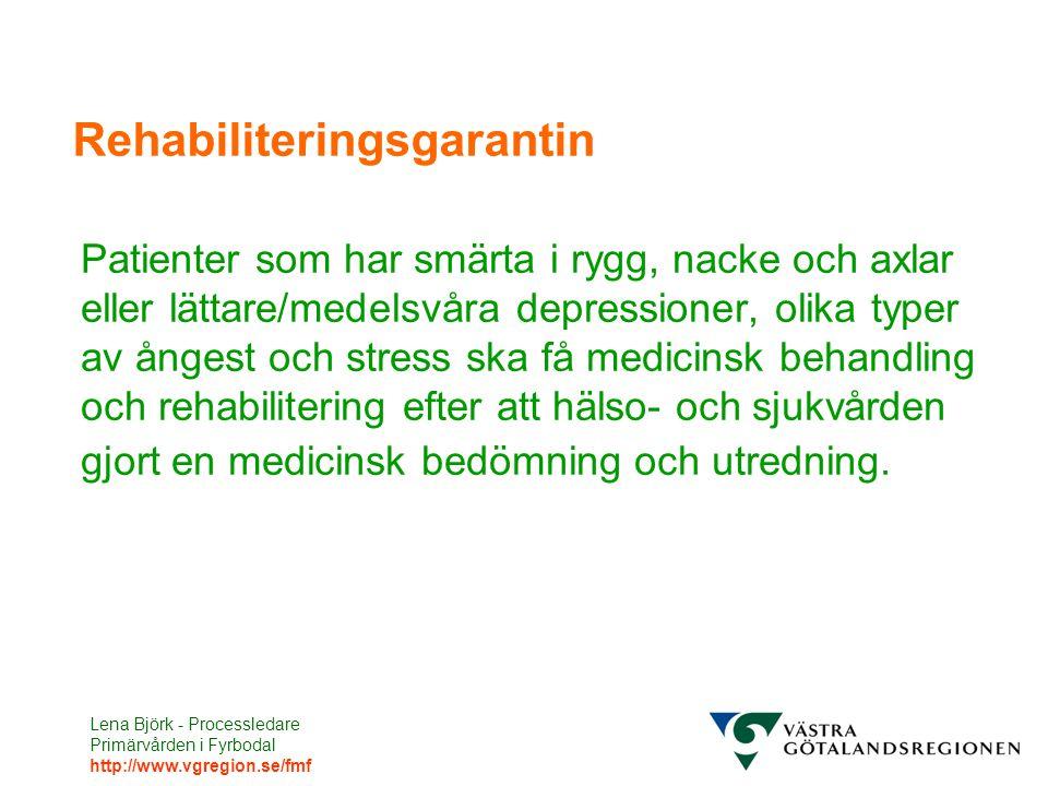 Lena Björk - Processledare Primärvården i Fyrbodal http://www.vgregion.se/fmf Rehabiliteringsgarantin Patienter som har smärta i rygg, nacke och axlar eller lättare/medelsvåra depressioner, olika typer av ångest och stress ska få medicinsk behandling och rehabilitering efter att hälso- och sjukvården gjort en medicinsk bedömning och utredning.