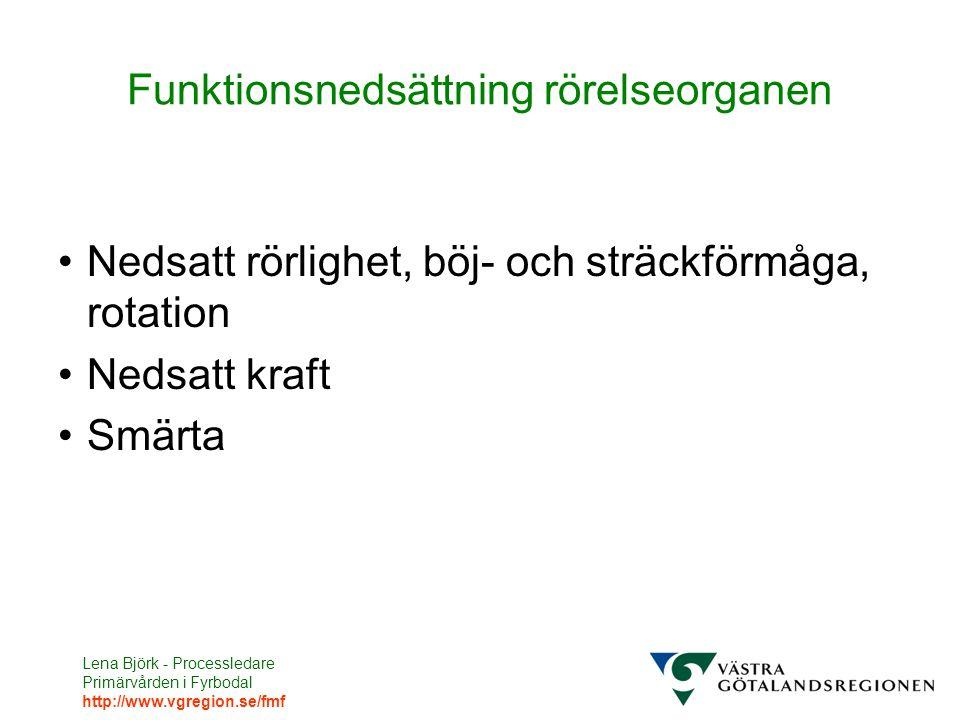 Lena Björk - Processledare Primärvården i Fyrbodal http://www.vgregion.se/fmf Funktionsnedsättning rörelseorganen Nedsatt rörlighet, böj- och sträckförmåga, rotation Nedsatt kraft Smärta