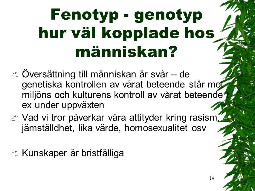 14 Fenotyp - genotyp hur väl kopplade hos människan.