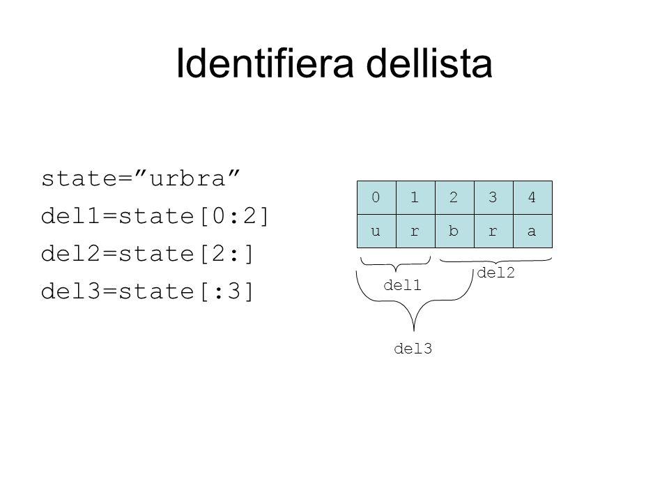 Identifiera dellista state= urbra del1=state[0:2] del2=state[2:] del3=state[:3] urbra 01234 del1 del2 del3