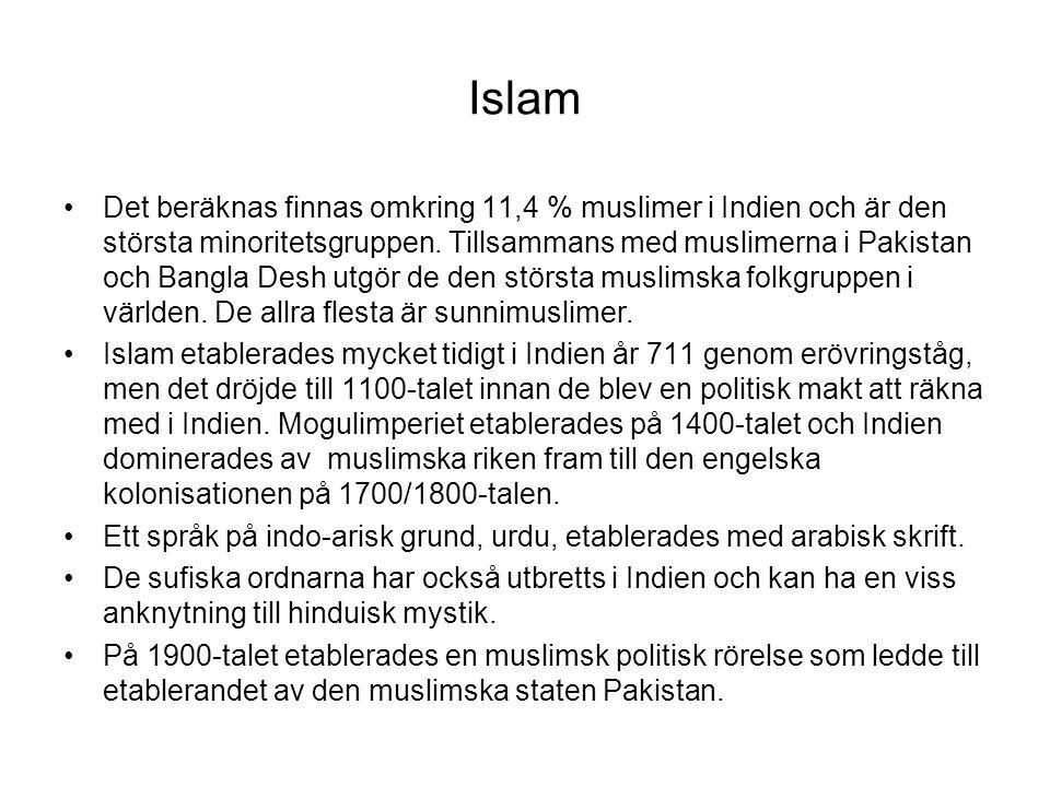 Islam Det beräknas finnas omkring 11,4 % muslimer i Indien och är den största minoritetsgruppen. Tillsammans med muslimerna i Pakistan och Bangla Desh