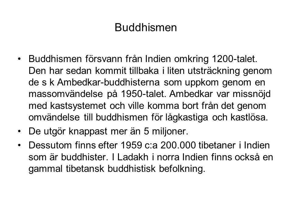 Buddhismen Buddhismen försvann från Indien omkring 1200-talet. Den har sedan kommit tillbaka i liten utsträckning genom de s k Ambedkar-buddhisterna s
