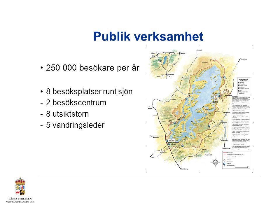 Publik verksamhet 250 000 besökare per år 8 besöksplatser runt sjön -2 besökscentrum -8 utsiktstorn -5 vandringsleder