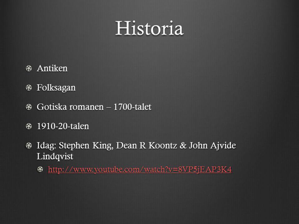 Historia AntikenFolksagan Gotiska romanen – 1700-talet 1910-20-talen Idag: Stephen King, Dean R Koontz & John Ajvide Lindqvist http://www.youtube.com/watch v=8VP5jEAP3K4