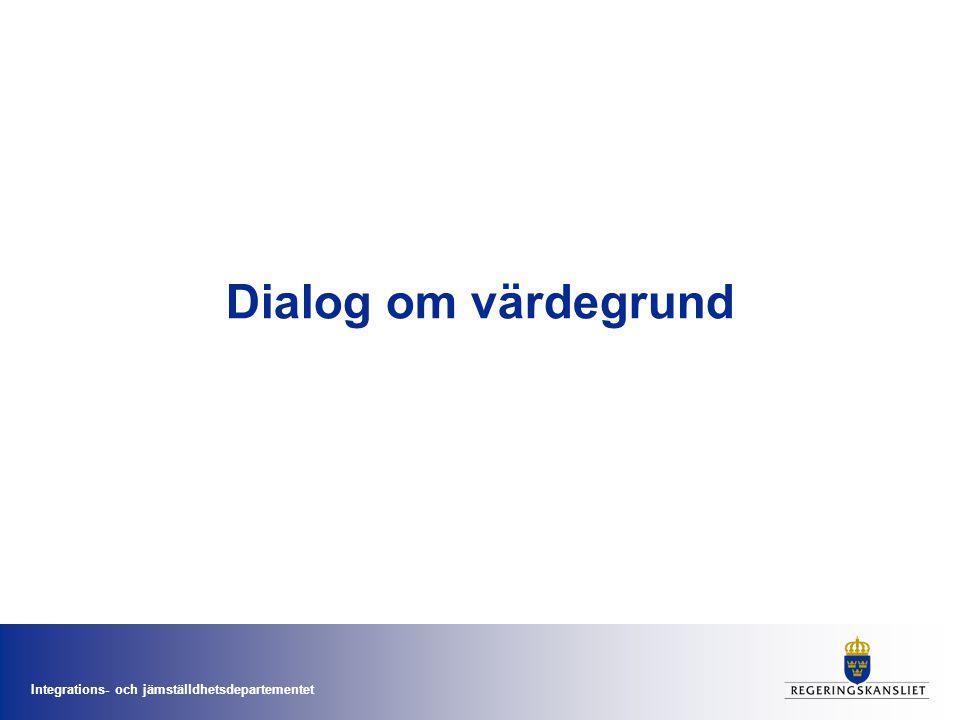 Integrations- och jämställdhetsdepartementet Dialog om värdegrund