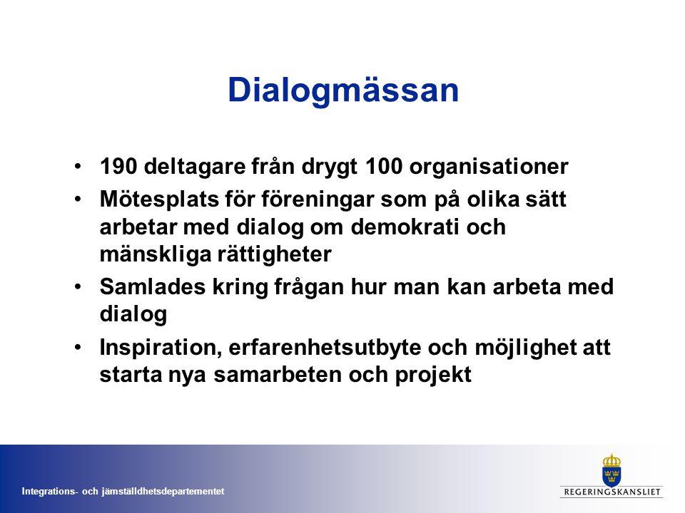 Integrations- och jämställdhetsdepartementet Dialogmässan 190 deltagare från drygt 100 organisationer Mötesplats för föreningar som på olika sätt arbetar med dialog om demokrati och mänskliga rättigheter Samlades kring frågan hur man kan arbeta med dialog Inspiration, erfarenhetsutbyte och möjlighet att starta nya samarbeten och projekt