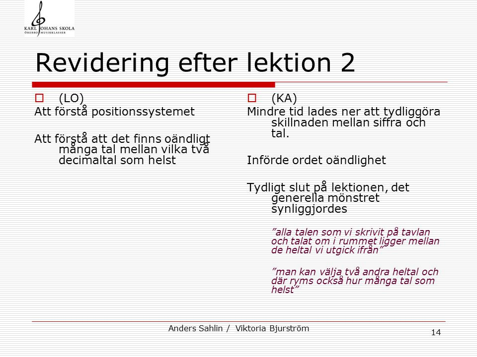 Anders Sahlin / Viktoria Bjurström 15 Klass 6c