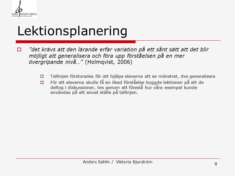 """Anders Sahlin / Viktoria Bjurström 8 Lektionsplanering  """"det krävs att den lärande erfar variation på ett sånt sätt att det blir möjligt att generali"""