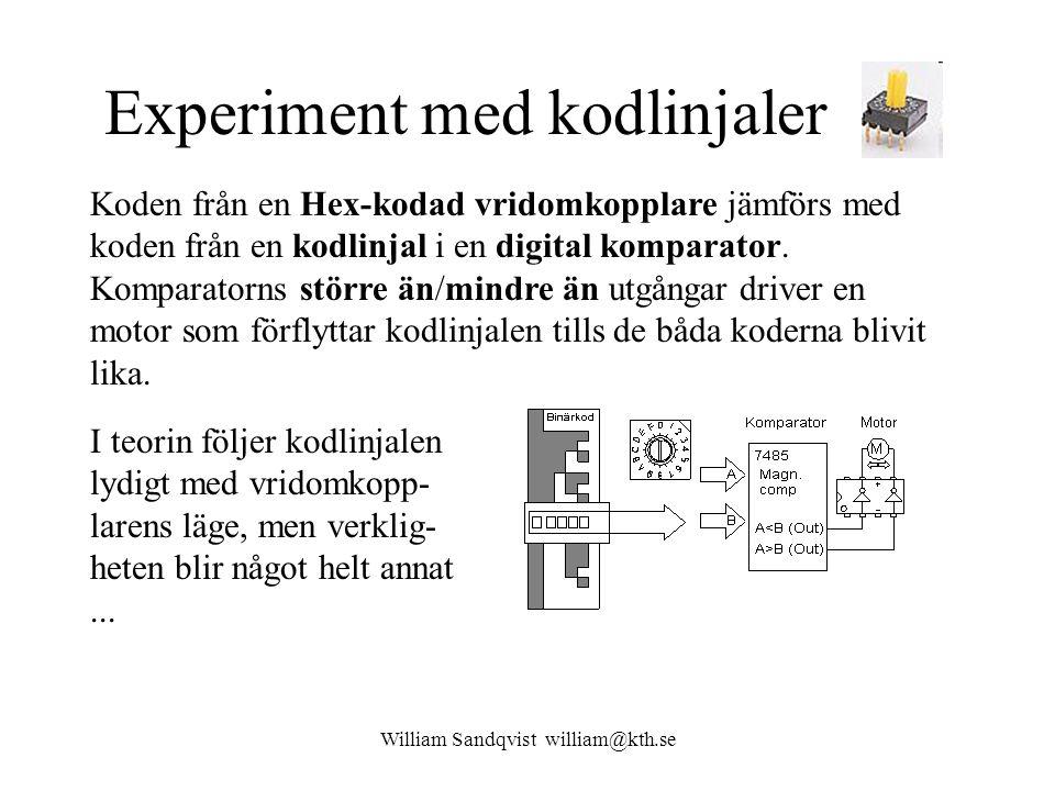 Experiment med kodlinjaler Koden från en Hex-kodad vridomkopplare jämförs med koden från en kodlinjal i en digital komparator. Komparatorns större än/