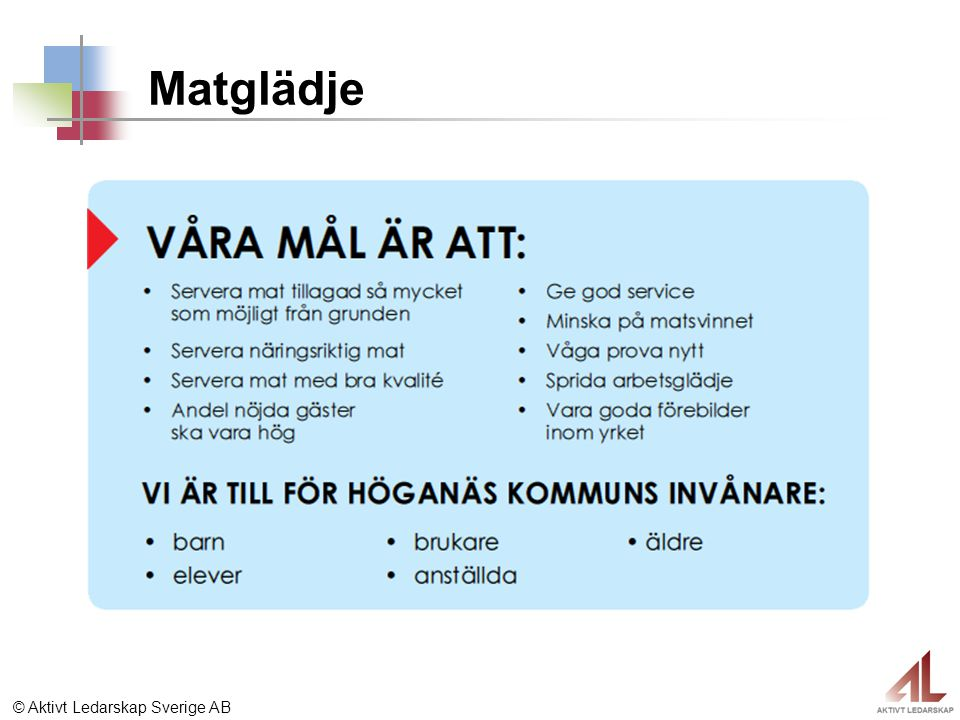 © Aktivt Ledarskap Sverige AB Matglädje