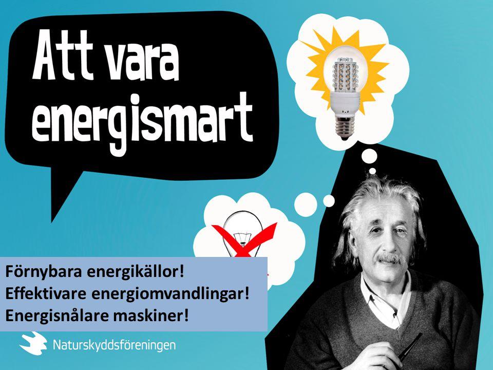 Förnybara energikällor! Effektivare energiomvandlingar! Energisnålare maskiner!