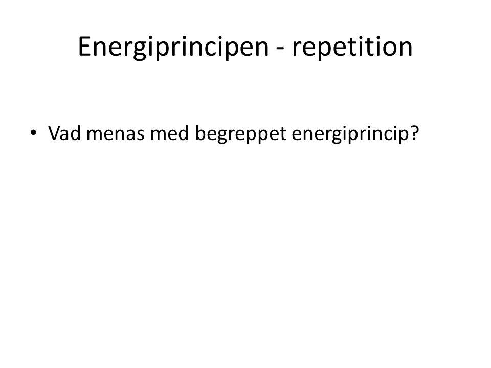 Energiprincipen - repetition Vad menas med begreppet energiprincip?