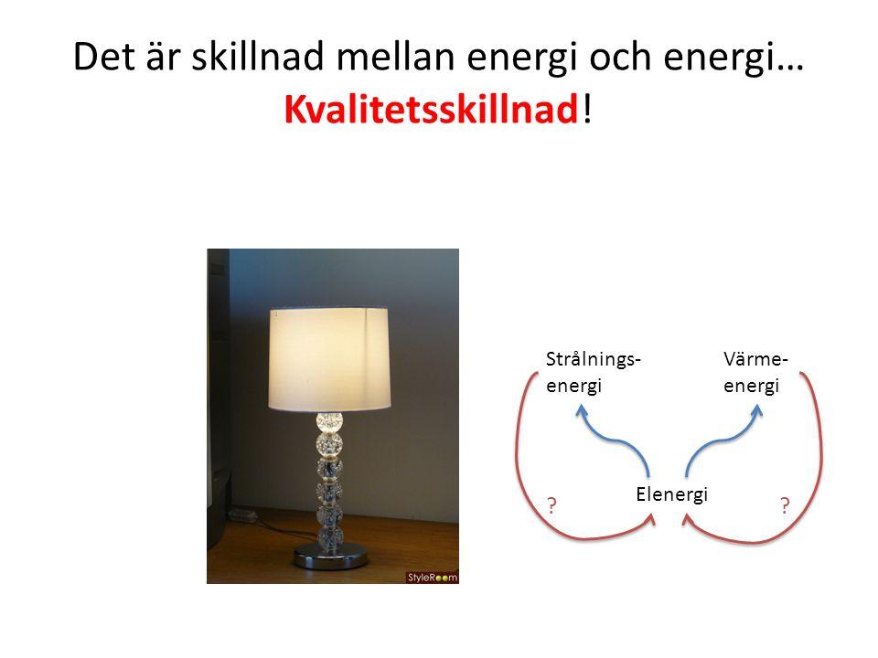 Det är skillnad mellan energi och energi… Kvalitetsskillnad! Elenergi Värme- energi Strålnings- energi ??