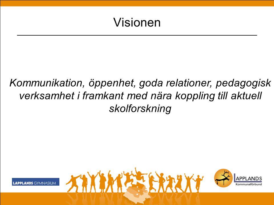 Visionen - reviderad Unika attraktiva utbildningar av högsta kvalitet -som med stöd av LKAB akademin tar sikte mot Sveriges bästa skola ekonomi, kompetens, signaler omgivningen!