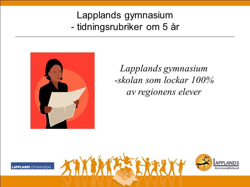 Lapplands gymnasium - tidningsrubriker om 5 år _______________________________________________________________________________________________ Lapplands gymnasium, - Väl utbyggt samarbete med det lokala näringslivet - Väl fungerande programråd