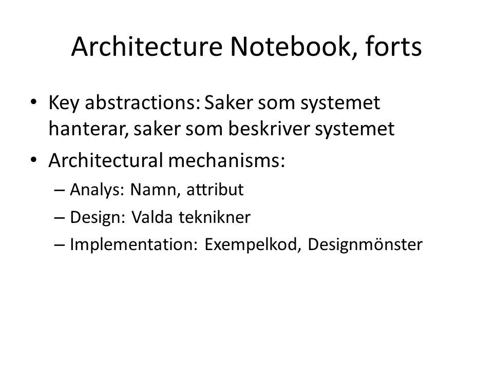 Architecture Notebook, forts Key abstractions: Saker som systemet hanterar, saker som beskriver systemet Architectural mechanisms: – Analys: Namn, attribut – Design: Valda teknikner – Implementation: Exempelkod, Designmönster