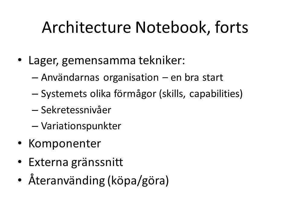 Architecture Notebook, forts Lager, gemensamma tekniker: – Användarnas organisation – en bra start – Systemets olika förmågor (skills, capabilities) – Sekretessnivåer – Variationspunkter Komponenter Externa gränssnitt Återanvänding (köpa/göra)