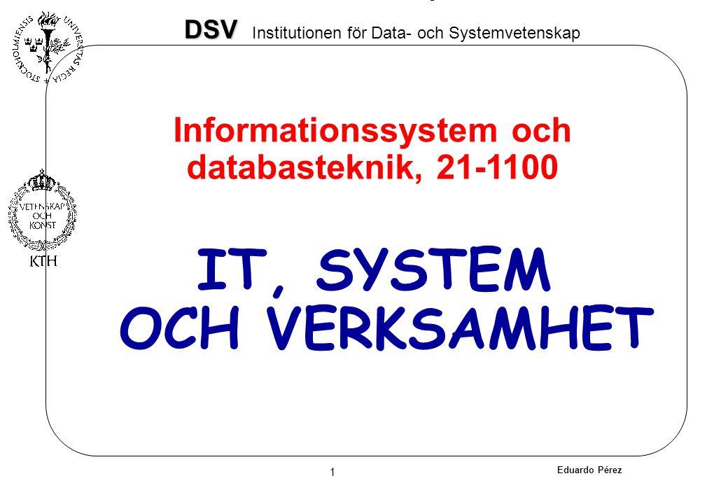 Eduardo Pérez 1 DSV DSV Institutionen för Data- och Systemvetenskap IT, SYSTEM OCH VERKSAMHET Informationssystem och databasteknik, 21-1100