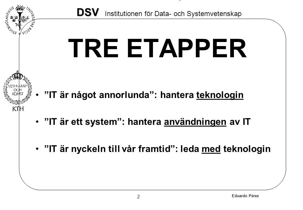 """Eduardo Pérez 2 DSV DSV Institutionen för Data- och Systemvetenskap TRE ETAPPER """"IT är något annorlunda"""": hantera teknologin """"IT är ett system"""": hante"""