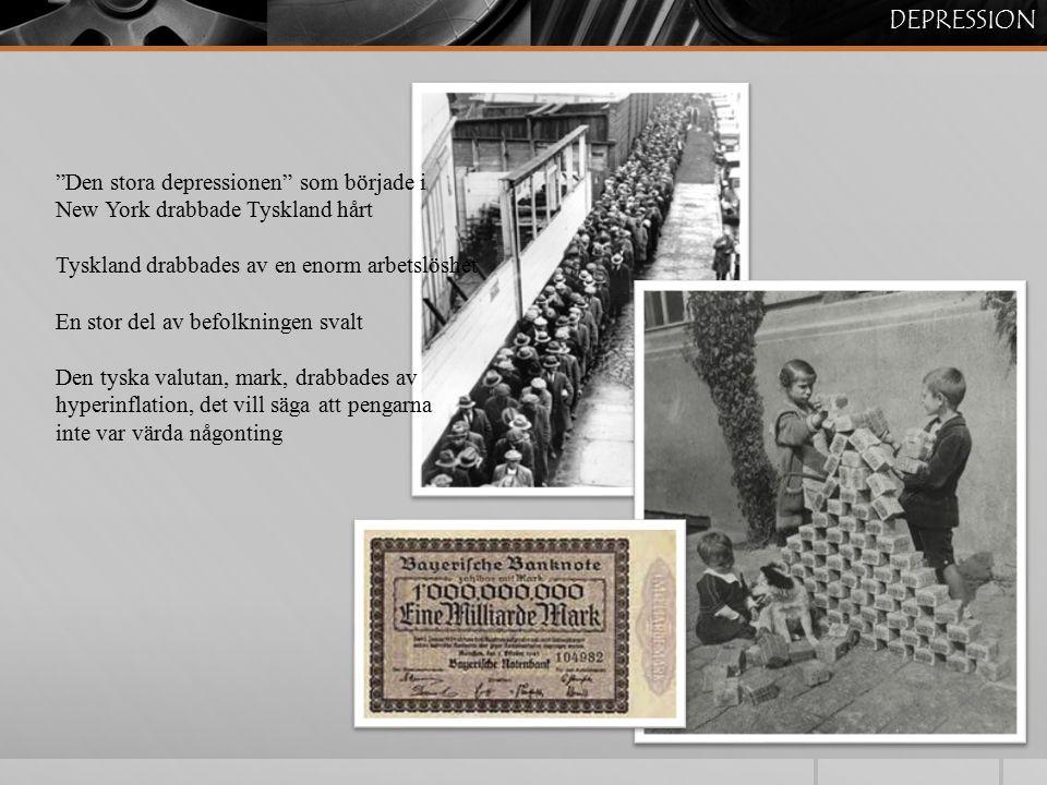 """DEPRESSION """"Den stora depressionen"""" som började i New York drabbade Tyskland hårt Tyskland drabbades av en enorm arbetslöshet En stor del av befolknin"""