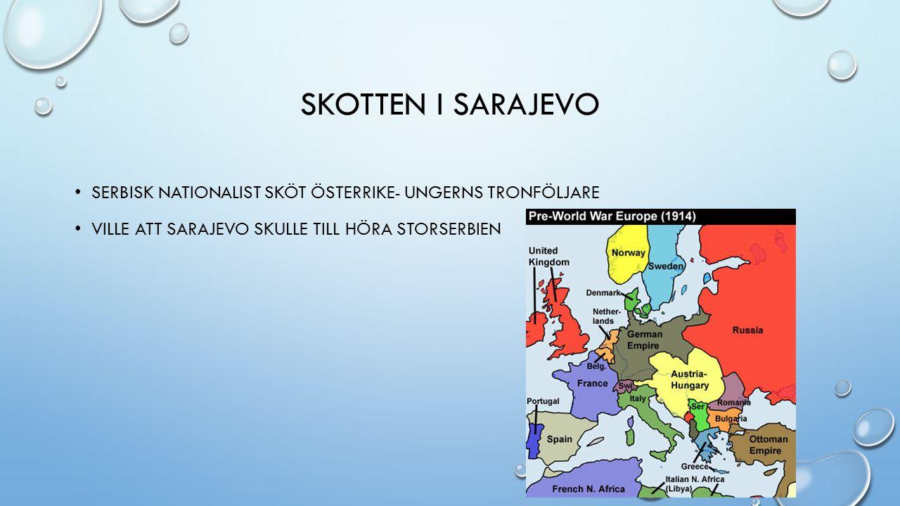 SKOTTEN I SARAJEVO SERBISK NATIONALIST SKÖT ÖSTERRIKE- UNGERNS TRONFÖLJARE VILLE ATT SARAJEVO SKULLE TILL HÖRA STORSERBIEN