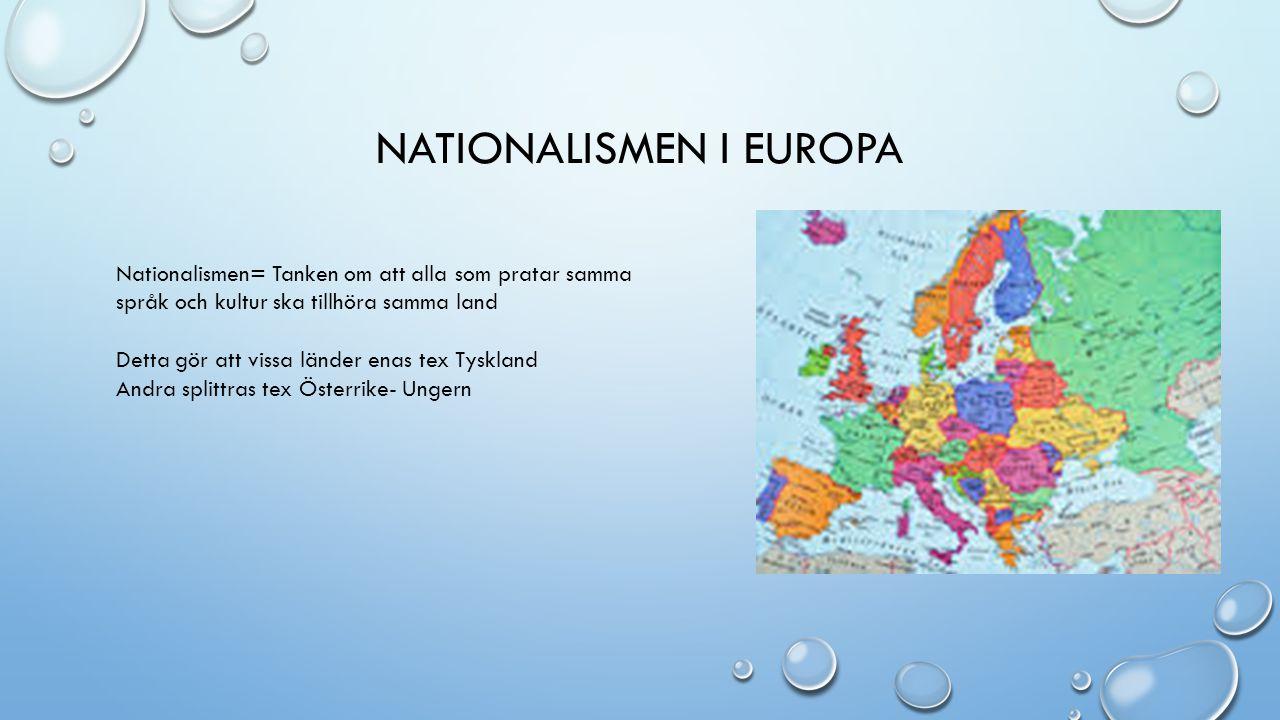NATIONALISMEN I EUROPA Nationalismen= Tanken om att alla som pratar samma språk och kultur ska tillhöra samma land Detta gör att vissa länder enas tex