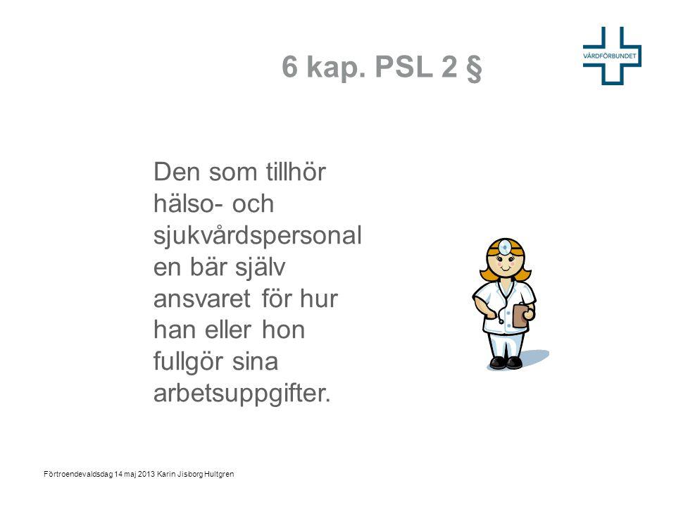 6 kap. PSL 2 § Den som tillhör hälso- och sjukvårdspersonal en bär själv ansvaret för hur han eller hon fullgör sina arbetsuppgifter. Förtroendevaldsd