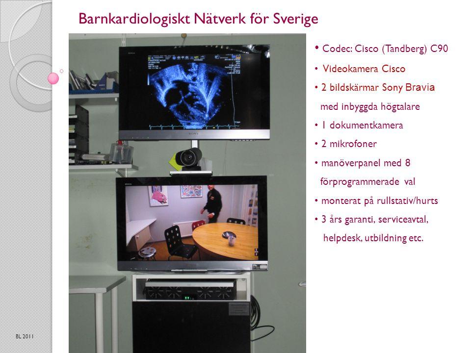 Barnkardiologiskt Nätverk för Sverige BL 2011 Codec: Cisco (Tandberg) C90 Videokamera Cisco 2 bildskärmar Sony Bravia med inbyggda högtalare 1 dokumentkamera 2 mikrofoner manöverpanel med 8 förprogrammerade val monterat på rullstativ/hurts 3 års garanti, serviceavtal, helpdesk, utbildning etc.