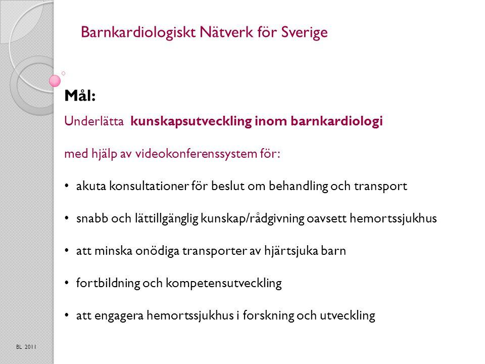 Barnkardiologiskt Nätverk för Sverige Mål: BL 2011 Underlätta kunskapsutveckling inom barnkardiologi med hjälp av videokonferenssystem för: akuta konsultationer för beslut om behandling och transport snabb och lättillgänglig kunskap/rådgivning oavsett hemortssjukhus att minska onödiga transporter av hjärtsjuka barn fortbildning och kompetensutveckling att engagera hemortssjukhus i forskning och utveckling
