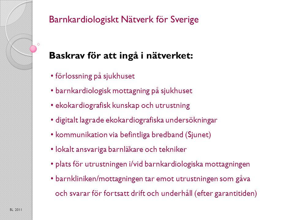 Barnkardiologiskt Nätverk för Sverige Baskrav för att ingå i nätverket: BL 2011 förlossning på sjukhuset barnkardiologisk mottagning på sjukhuset ekokardiografisk kunskap och utrustning digitalt lagrade ekokardiografiska undersökningar kommunikation via befintliga bredband (Sjunet) lokalt ansvariga barnläkare och tekniker plats för utrustningen i/vid barnkardiologiska mottagningen barnkliniken/mottagningen tar emot utrustningen som gåva och svarar för fortsatt drift och underhåll (efter garantitiden)