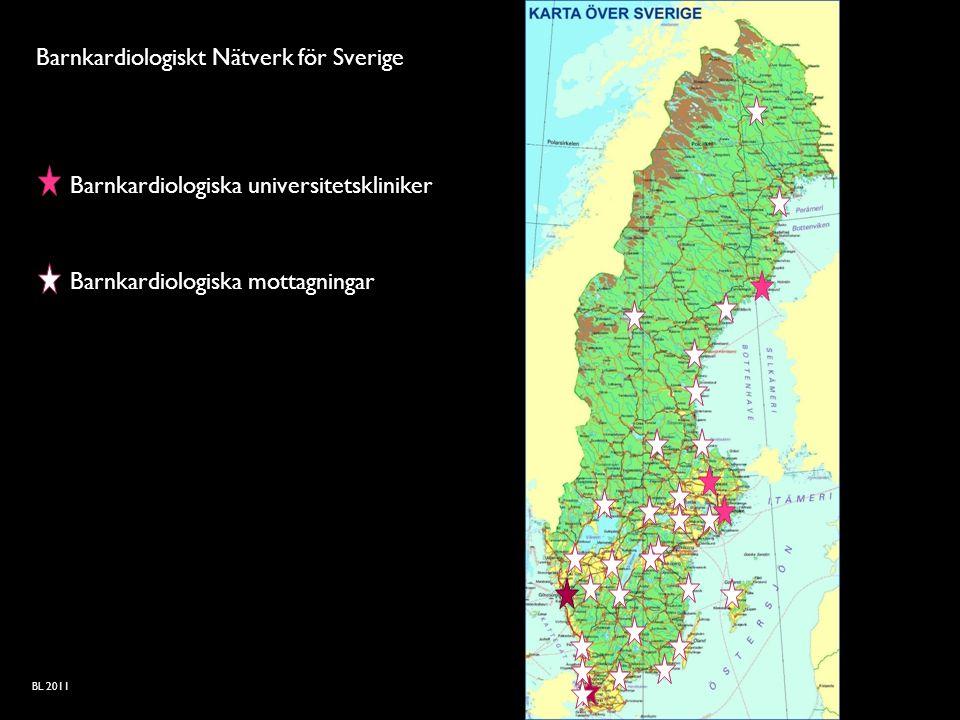 Barnkardiologiskt Nätverk för Sverige Barnkardiologiska universitetskliniker Barnkardiologiska mottagningar BL 2011