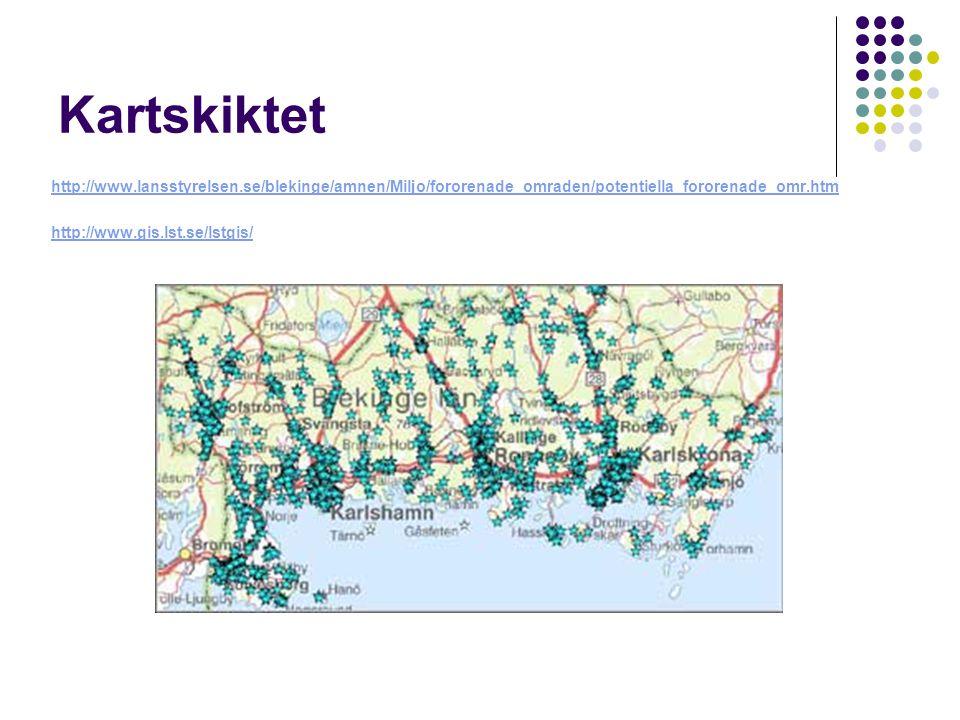 Kartskiktet http://www.lansstyrelsen.se/blekinge/amnen/Miljo/fororenade_omraden/potentiella_fororenade_omr.htm http://www.gis.lst.se/lstgis/