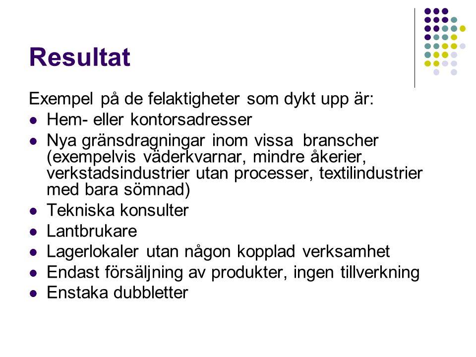 Resultat Exempel på de felaktigheter som dykt upp är: Hem- eller kontorsadresser Nya gränsdragningar inom vissa branscher (exempelvis väderkvarnar, mindre åkerier, verkstadsindustrier utan processer, textilindustrier med bara sömnad) Tekniska konsulter Lantbrukare Lagerlokaler utan någon kopplad verksamhet Endast försäljning av produkter, ingen tillverkning Enstaka dubbletter