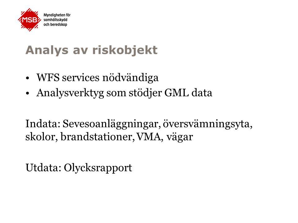 Analys av riskobjekt WFS services nödvändiga Analysverktyg som stödjer GML data Indata: Sevesoanläggningar, översvämningsyta, skolor, brandstationer, VMA, vägar Utdata: Olycksrapport