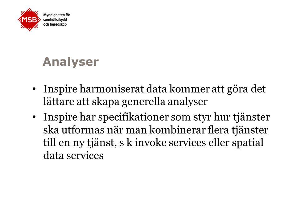 Analyser Inspire harmoniserat data kommer att göra det lättare att skapa generella analyser Inspire har specifikationer som styr hur tjänster ska utformas när man kombinerar flera tjänster till en ny tjänst, s k invoke services eller spatial data services