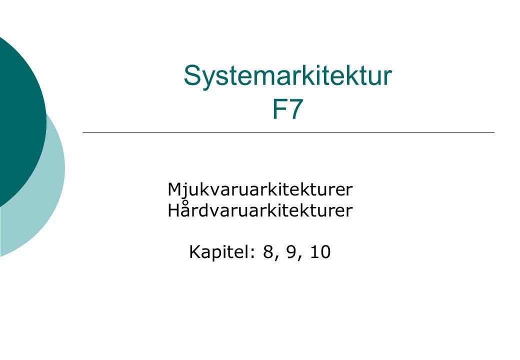Systemarkitektur F7 Mjukvaruarkitekturer Hårdvaruarkitekturer Kapitel: 8, 9, 10