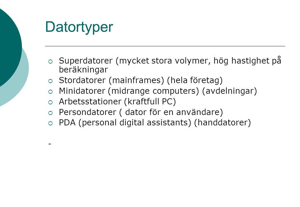 Datortyper  Superdatorer (mycket stora volymer, hög hastighet på beräkningar  Stordatorer (mainframes) (hela företag)  Minidatorer (midrange computers) (avdelningar)  Arbetsstationer (kraftfull PC)  Persondatorer ( dator för en användare)  PDA (personal digital assistants) (handdatorer) -