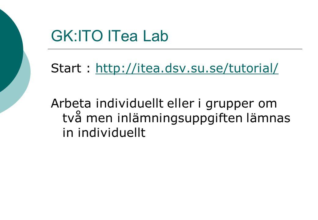 GK:ITO ITea Lab Start : http://itea.dsv.su.se/tutorial/http://itea.dsv.su.se/tutorial/ Arbeta individuellt eller i grupper om två men inlämningsuppgiften lämnas in individuellt