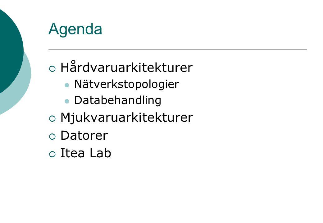 Agenda  Hårdvaruarkitekturer Nätverkstopologier Databehandling  Mjukvaruarkitekturer  Datorer  Itea Lab