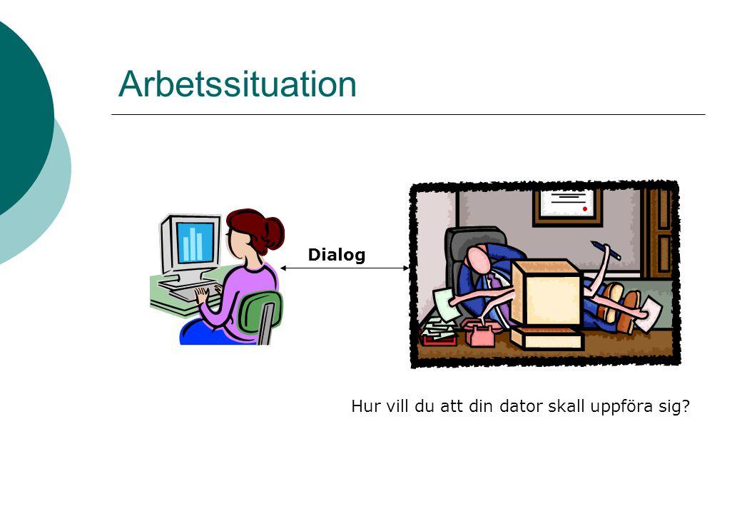 Arbetssituation Hur vill du att din dator skall uppföra sig? Dialog