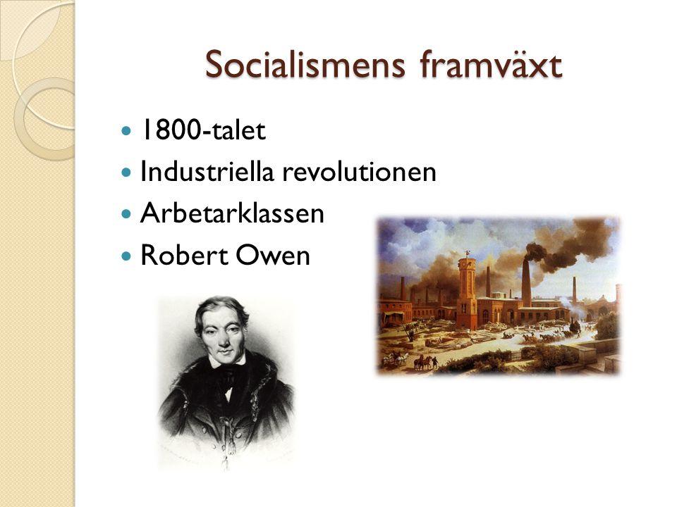 Socialismens framväxt 1800-talet Industriella revolutionen Arbetarklassen Robert Owen