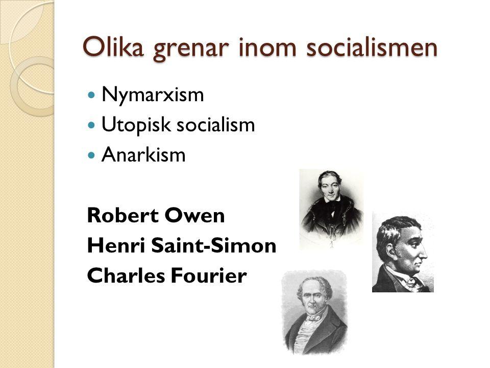Olika grenar inom socialismen Nymarxism Utopisk socialism Anarkism Robert Owen Henri Saint-Simon Charles Fourier