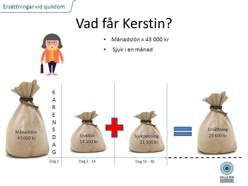 FLIKTEXT I VERSALER Ersättningar vid sjukdom Vad får Kerstin.