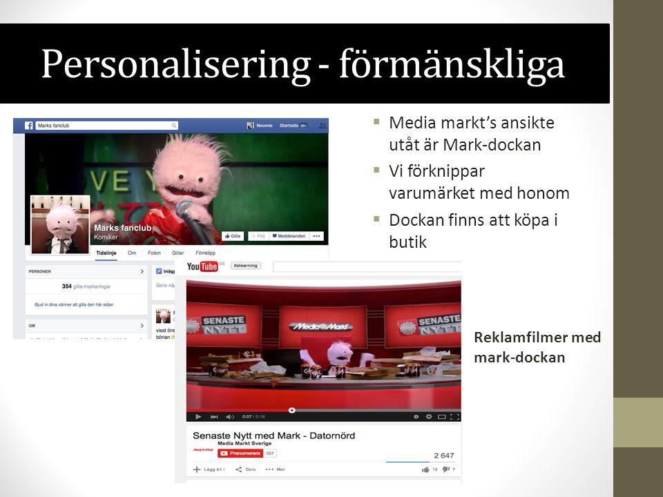 Personalisering - förmänskliga  Media markt's ansikte utåt är Mark-dockan  Vi förknippar varumärket med honom  Dockan finns att köpa i butik Reklam