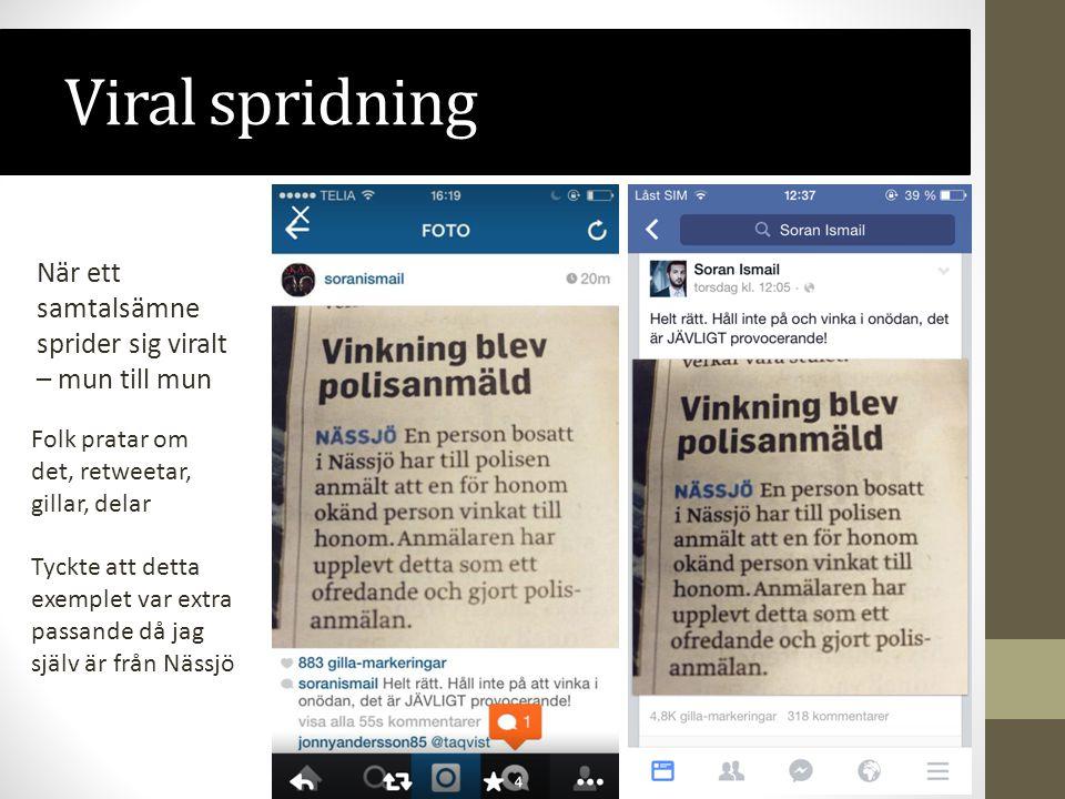Viral spridning När ett samtalsämne sprider sig viralt – mun till mun Tyckte att detta exemplet var extra passande då jag själv är från Nässjö Folk pratar om det, retweetar, gillar, delar