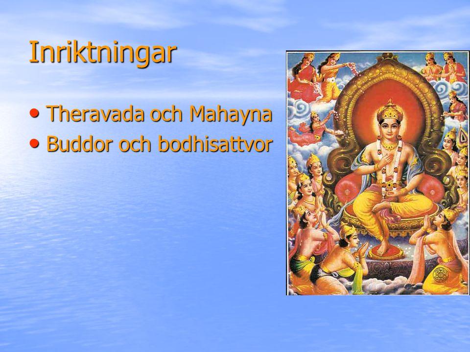 Inriktningar Theravada och Mahayna Theravada och Mahayna Buddor och bodhisattvor Buddor och bodhisattvor