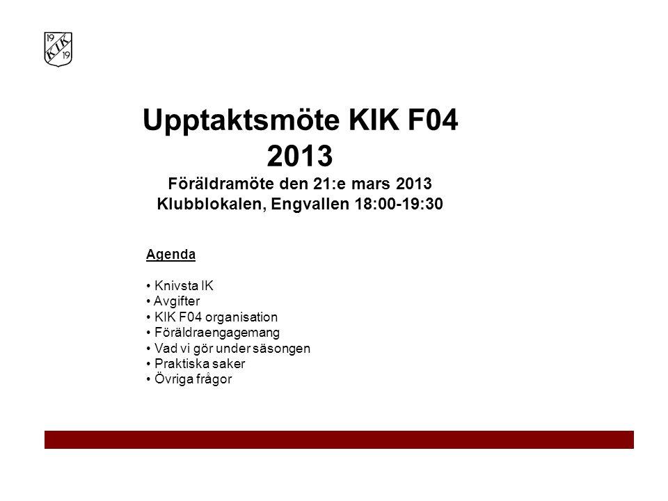 Agenda Knivsta IK Avgifter KIK F04 organisation Föräldraengagemang Vad vi gör under säsongen Praktiska saker Övriga frågor Upptaktsmöte KIK F04 2013 F